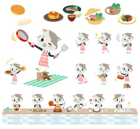 A set of cow girl about cooking.There are actions that are cooking in various ways in the kitchen.Its vector art so its easy to edit. Stock Illustratie
