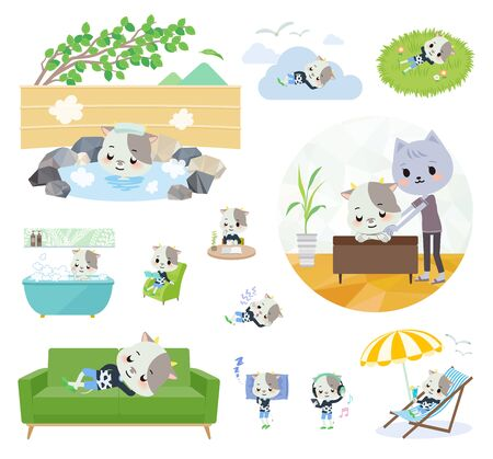 A set of cow boy about relaxing.There are actions such as vacation and stress relief.It's vector art so it's easy to edit.