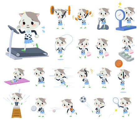 A set of cow girl on exercise and sports.There are various actions to move the body healthy.Its vector art so its easy to edit.  イラスト・ベクター素材