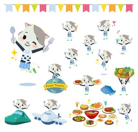 A set of cow girl on food events.There are actions that have a fork and a spoon and are having fun.Its vector art so its easy to edit.