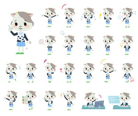A set of cow girl with who express various emotions.There are actions related to workplaces and personal computers.Its vector art so its easy to edit. Illustration