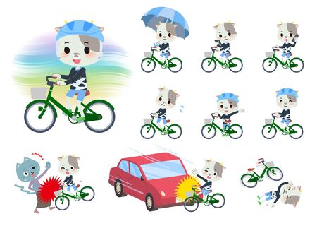 A set of cow boy riding a city cycle.There are actions on manners and troubles.Its vector art so its easy to edit.