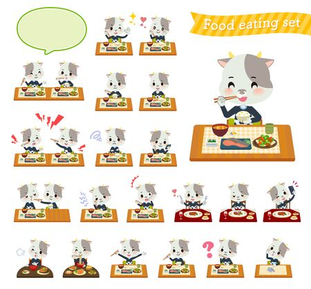 A set of cow boy about meals.Japanese and Chinese cuisine, Western style dishes and so on.Its vector art so its easy to edit.
