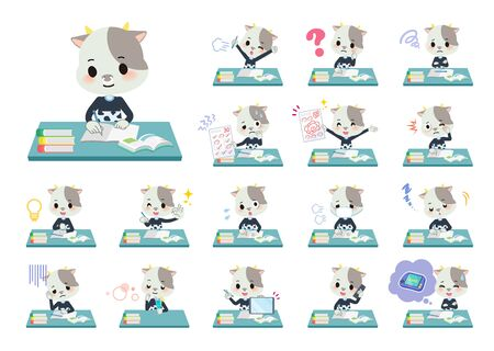 A set of cow boy on study.There are various emotions and actions.Its vector art so its easy to edit.