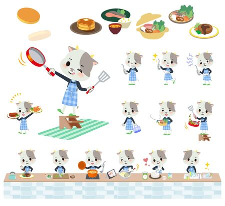 A set of cow boy about cooking.There are actions that are cooking in various ways in the kitchen.Its vector art so its easy to edit. Stock Illustratie