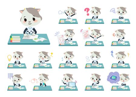 A set of cow girl on study.There are various emotions and actions.Its vector art so its easy to edit. Illustration