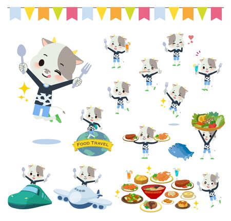 A set of cow boy on food events.There are actions that have a fork and a spoon and are having fun.Its vector art so its easy to edit.