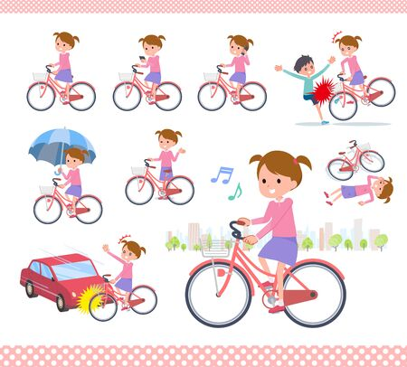 A set of girl riding a city cycle.There are actions on manners and troubles.Its vector art so its easy to edit.