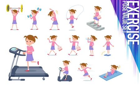 A set of girl on exercise and sports.There are various actions to move the body healthy.Its vector art so its easy to edit.   イラスト・ベクター素材