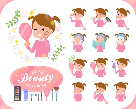 A set of girl on beauty.There are various actions such as skin care and makeup.It's vector art so it's easy to edit. 矢量图像