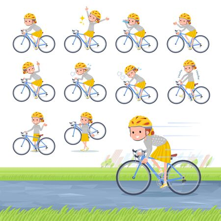 A set of girl on a road bike.There is an action that is enjoying.Its vector art so its easy to edit.  Illusztráció