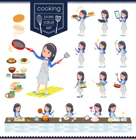 A set of girl about cooking.There are actions that are cooking in various ways in the kitchen.It's vector art so it's easy to edit.