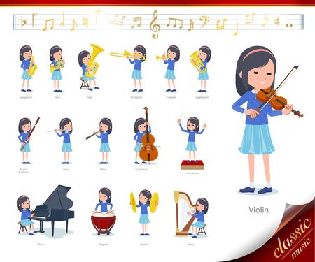 A set of girl on classical music performances.There are actions to play various instruments such as string instruments and wind instruments.Its vector art so its easy to edit.