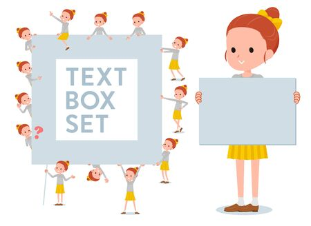 A set of girl with a message board.Since each is divided, you can move it freely.It's vector art so it's easy to edit. Vektorové ilustrace