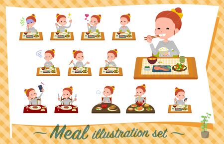 A set of girl about meals.Japanese and Chinese cuisine, Western style dishes and so on.Its vector art so its easy to edit.