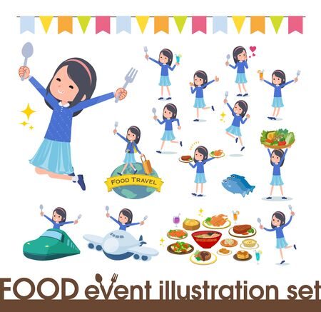 A set of girl on food events.There are actions that have a fork and a spoon and are having fun.Its vector art so its easy to edit. Illusztráció