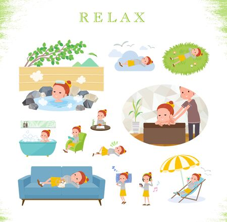 A set of girl about relaxing.There are actions such as vacation and stress relief.It's vector art so it's easy to edit.