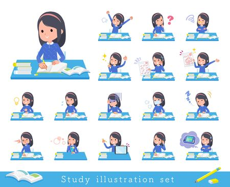 A set of girl on study.There are various emotions and actions.Its vector art so its easy to edit.