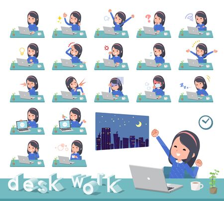 A set of girl on desk work.There are various actions such as feelings and fatigue.Its vector art so its easy to edit.
