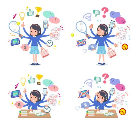 A set of girl who perform multitasking in the school.There are things to do smoothly and a pattern that is in a panic.Its vector art so its easy to edit.