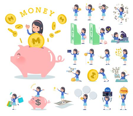 A set of girl with concerning money and economy. There are also actions on success and failure. Its vector art so its easy to edit.