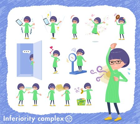 A set of girl on inferiority complex.There are actions suffering from smell and appearance.Its vector art so its easy to edit. Ilustração