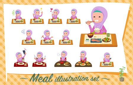 A set of girl about meals.Japanese and Chinese cuisine, Western style dishes and so on.Its vector art so its easy to edit. Illusztráció
