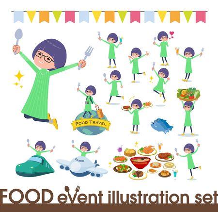 Eine Reihe von Mädchen auf Food-Events. Es gibt Aktionen, die eine Gabel und einen Löffel haben und Spaß machen. Es handelt sich um Vektorgrafiken, die leicht zu bearbeiten sind.