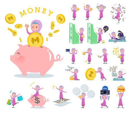 A set of girl with concerning money and economy.There are also actions on success and failure.Its vector art so its easy to edit.