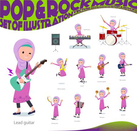A set of girl playing rock n roll and pop music.There are also various instruments such as ukulele and tambourine.Its vector art so its easy to edit.