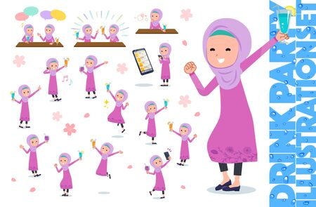 A set of girl related to alcohol.There is an action to express a lively scene.It's vector art so it's easy to edit. Illustration