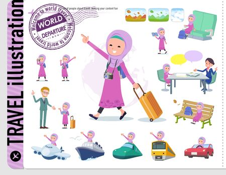 A set of girl on travel.There are also vehicles such as boats and airplanes.It's vector art so it's easy to edit.
