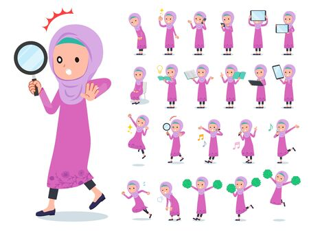 A set of girl with digital equipment such as smartphones.There are actions that express emotions.It's vector art so it's easy to edit.