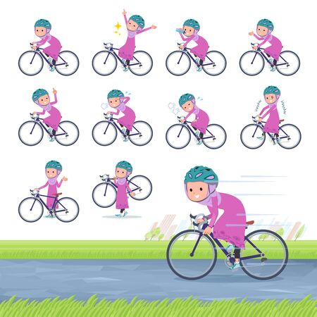 A set of girl on a road bike.There is an action that is enjoying.It's vector art so it's easy to edit. Çizim