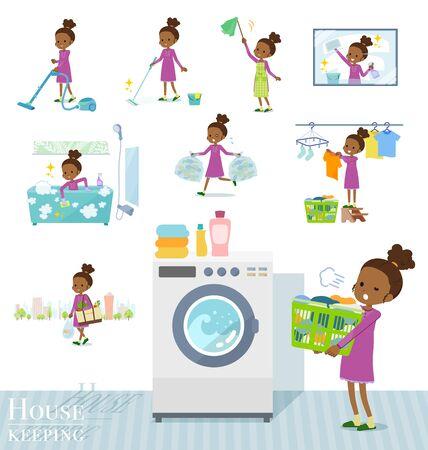 Eine Reihe von Mädchen im Zusammenhang mit der Haushaltsführung wie Reinigung und Wäsche. Es gibt verschiedene Aktionen wie Kindererziehung. Es handelt sich um Vektorgrafiken, die leicht zu bearbeiten sind.