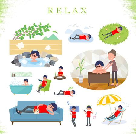 A set of red T-shirt man about relaxing.There are actions such as vacation and stress relief.It's vector art so it's easy to edit.