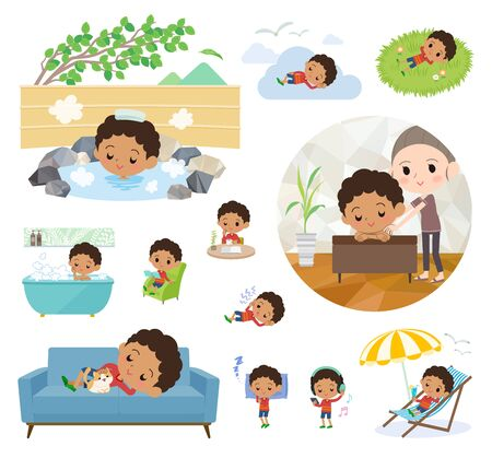 A set of boy about relaxing.There are actions such as vacation and stress relief.It's vector art so it's easy to edit.