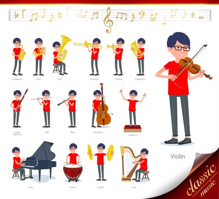 A set of red T-shirt man on classical music performances.There are actions to play various instruments such as string instruments and wind instruments.Its vector art so its easy to edit.  Иллюстрация