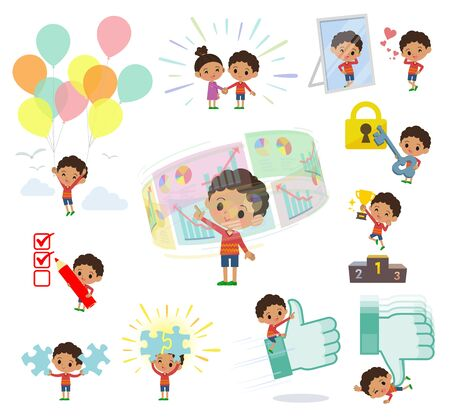 A set of boy on success and positive.There are actions on business and solution as well.It's vector art so it's easy to edit.