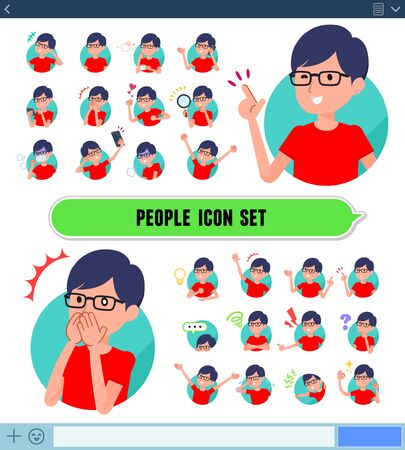 A set of red T-shirt man with expresses various emotions on the SNS screen.There are variations of emotions such as joy and sadness.Its vector art so its easy to edit.
