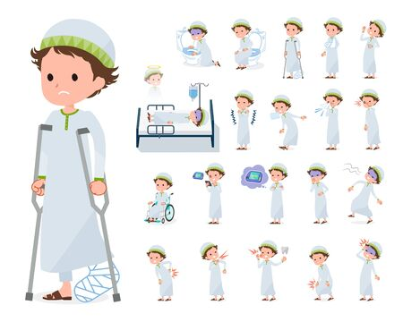 A set of boy with injury and illness.There are actions that express dependence and death.Its vector art so its easy to edit.  Ilustracja