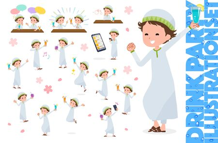 A set of boy related to alcohol.There is an action to express a lively scene.It's vector art so it's easy to edit.