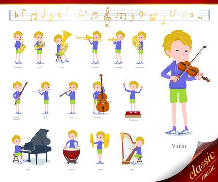 A set of boy on classical music performances.There are actions to play various instruments such as string instruments and wind instruments.Its vector art so its easy to edit.