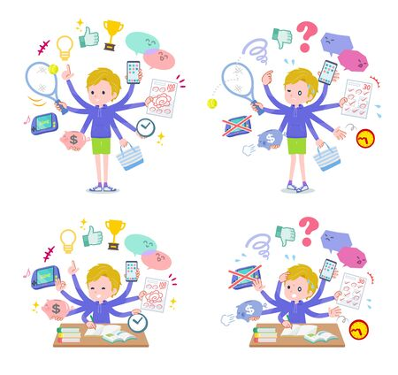 A set of boy who perform multitasking in the school.There are things to do smoothly and a pattern that is in a panic.Its vector art so its easy to edit.  일러스트