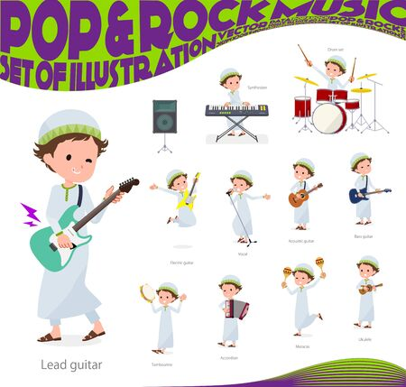 A set of boy playing rock n roll and pop music.There are also various instruments such as ukulele and tambourine.Its vector art so its easy to edit.  Illustration