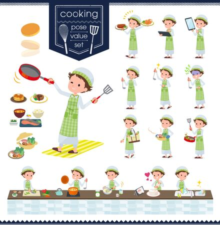 A set of boy about cooking.There are actions that are cooking in various ways in the kitchen.Its vector art so its easy to edit.