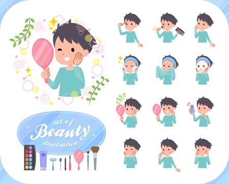 A set of boy on beauty.There are various actions such as skin care and makeup.It's vector art so it's easy to edit.