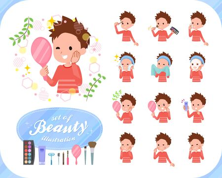 A set of boy on beauty.There are various actions such as skin care and makeup.Its vector art so its easy to edit.