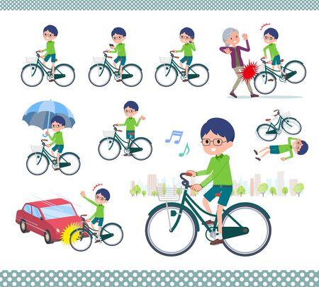 A set of boy riding a city cycle.There are actions on manners and troubles.Its vector art so its easy to edit.  Illustration