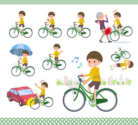 A set of boy riding a city cycle.There are actions on manners and troubles.Its vector art so its easy to edit.  Illusztráció